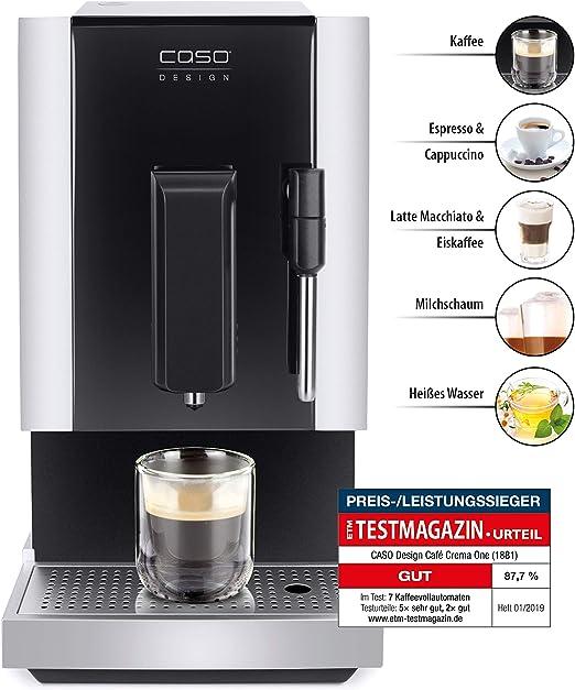 CASO Café Crema One – Cafetera automática de diseño, innovador sistema de calefacción, molinillo de cono de acero inoxidable extra silencioso, para espresso, capuchino, latte macchiato, etc.: Amazon.es: Hogar