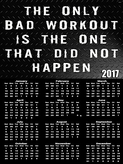 2017 Workout Calendar Poster Fitness Motivation Quote Poster Calendar by  Poster Explosion