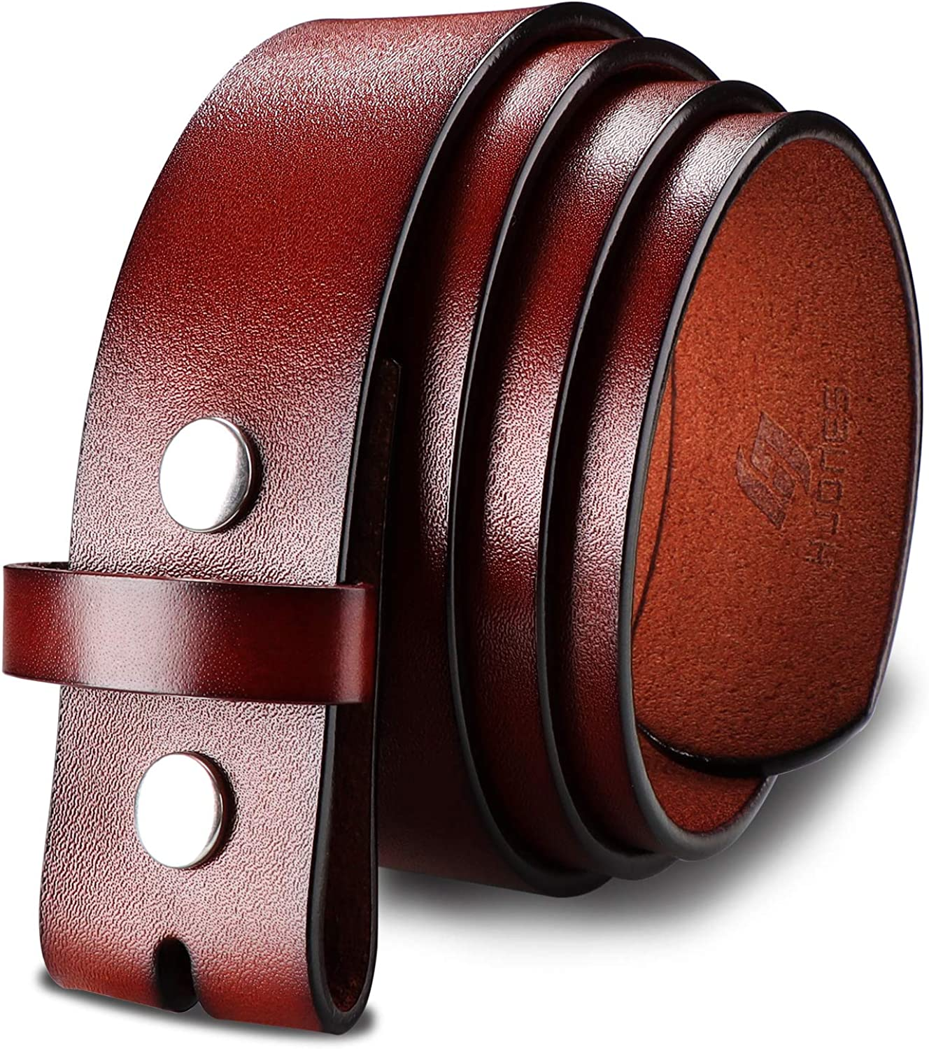 """Falari Replacement Genuine Leather Belt Strap Without Buckle Snap on Strap 1.5/"""""""
