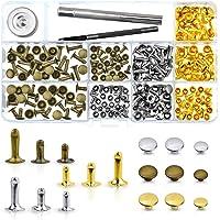 WXJ13 135 Sets 3 Größen Single Gap Nieten Metall Leder Nieten mit 3 Stück Werkzeug-Kits für Nieten Ersatz, Leder Dekoration
