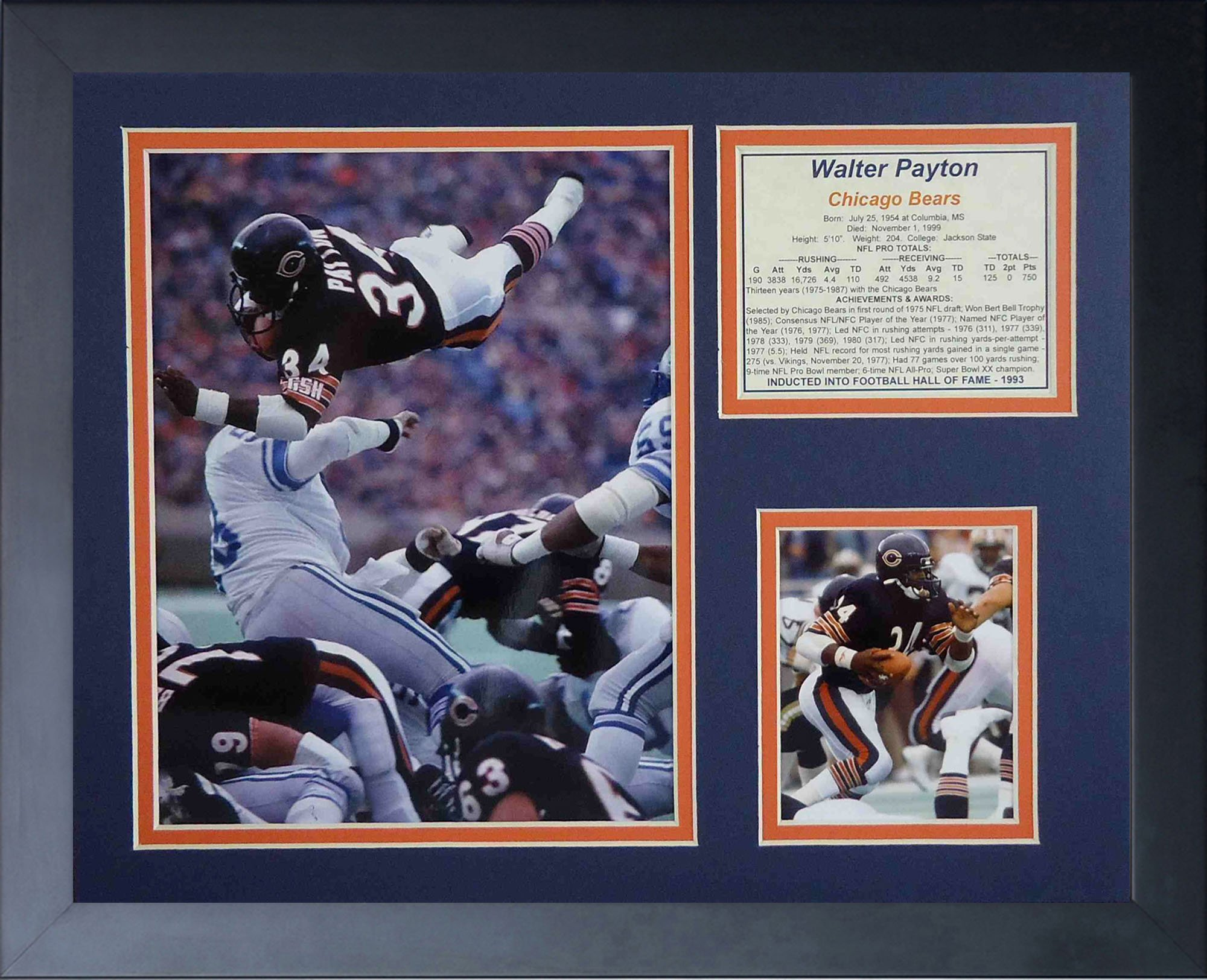 Legends Never Die Walter Payton Diving Framed Photo Collage, 11x14-Inch by Legends Never Die