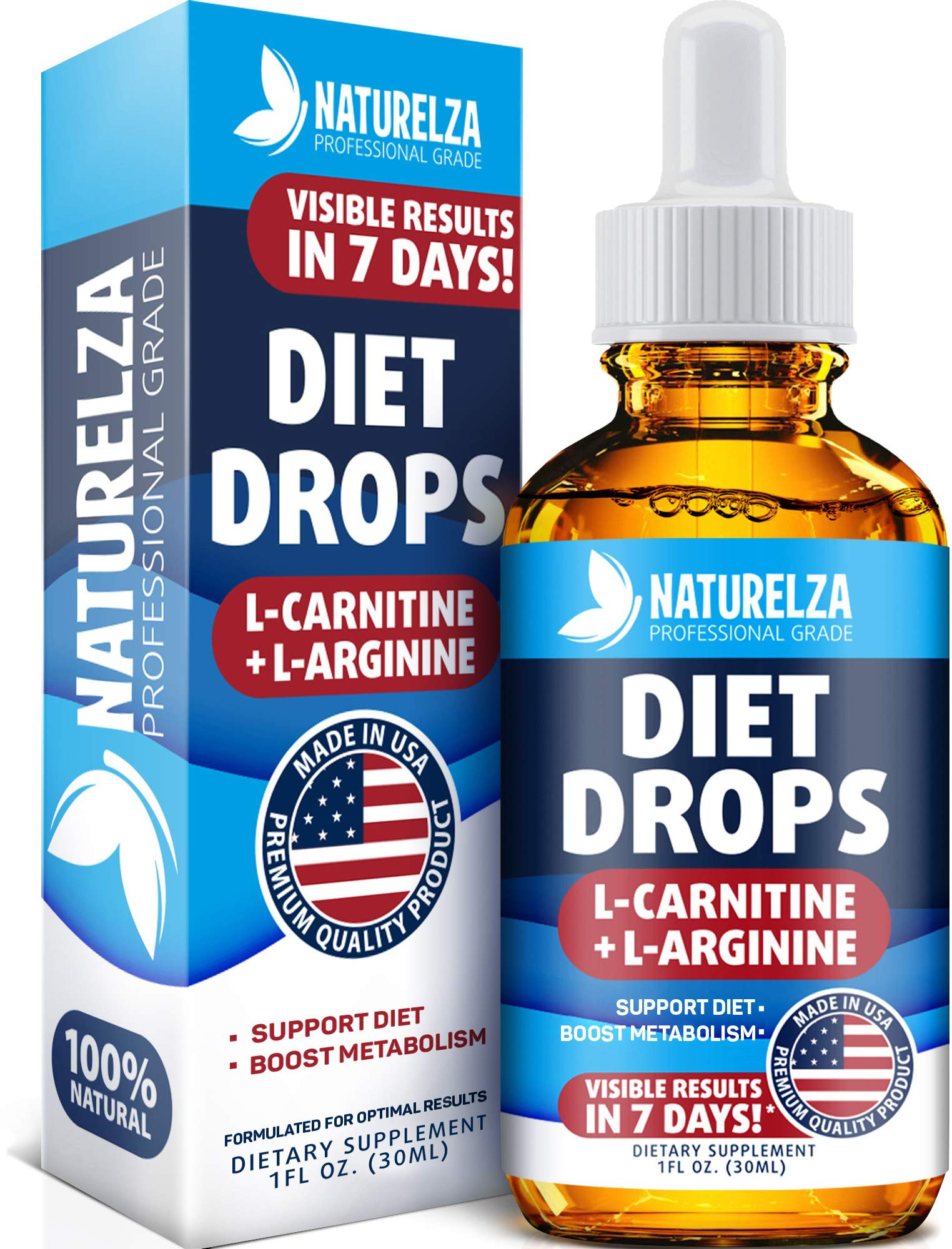 Weight Loss Drops - Made in USA - Best Diet Drops for Fat Loss - Effective Appetite Suppressant & Metabolism Booster - 100% Natural, Safe & Proven Ingredients - Non GMO Fat Burner - Garcinia Cambogia by Naturelza