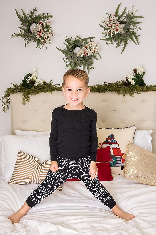 b012ca2e0443 Amazon.com  Littlest Prince Matching Christmas Holiday Family Pajama Sets -  Black Nordic Style A  Clothing