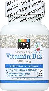 365 Everyday Value, Vitamin B12 500mcg Lozenges, Cherry Flavor, 50 ct