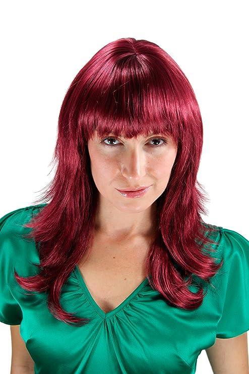 WIG ME UP ® - Peluca, rojo - violeta, en capas, puntas ondeadas