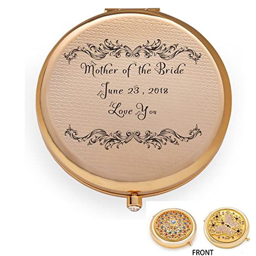 Personalized Engraved Custom Compact Purse Pocket Mirror, Unique Wedding Birthday Anniversary Gift, Mother Of The Bride Groom by Jinvun
