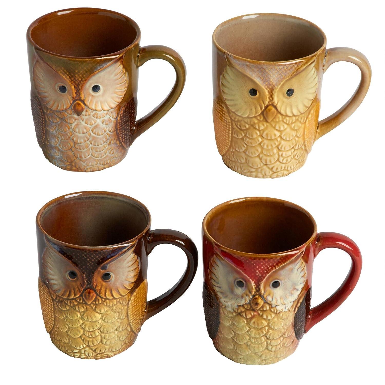 Set of 4 Natures Home Reactive Glaze Ceramic Owl Mugs