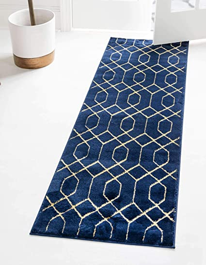 Unique Loom Marilyn Monroe Glam Collection Textured Geometric Trellis Area Rug 2 0 X 10 0 Runner Navy Blue Gold Amazon Co Uk Kitchen Home