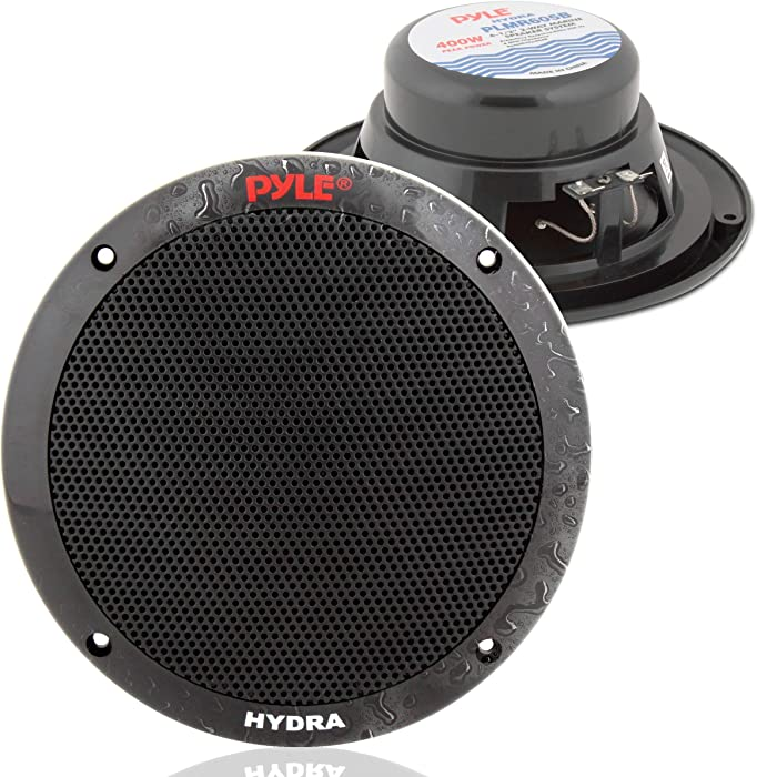 6.5 Inch Dual Marine Speakers - 2 Way Waterproof and Weather Resistant Outdoor Audio Stereo Sound System with 400 Watt Power, Polypropylene Cone and Butyl Rubber Surround - 1 Pair - PLMR605W (Black)