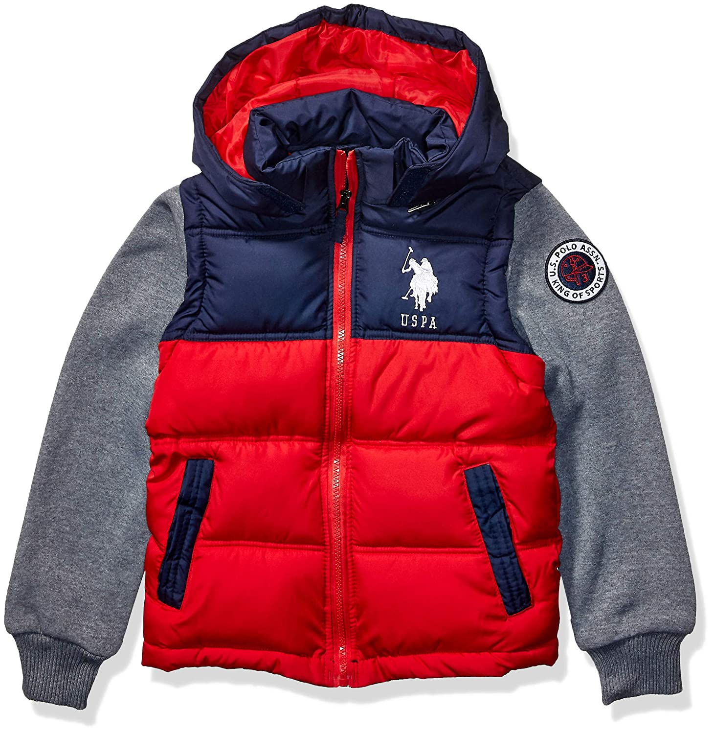 Fleece Sleeves red US Polo Association Boys Big Bubble Jacket 14//16