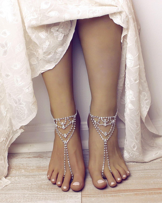 Zainab Barefoot Sandals Beach Wedding Foot Jewelry 2 Pieces