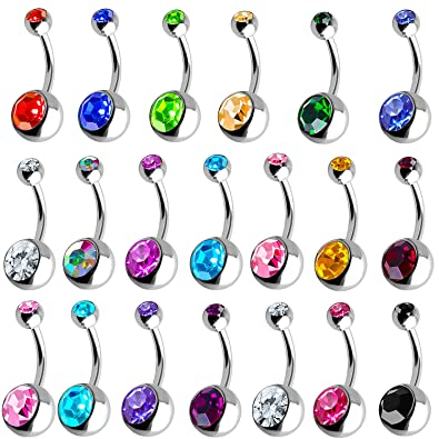 Outee 20 Pcs Belly Bars Button Balls Belly Button Ring Belly