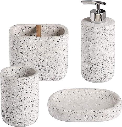 Soporte y Vaso Jabonera Juego de accesorios para ba/ño de 4 piezas: Dispensador de Loci/ón Color Crema