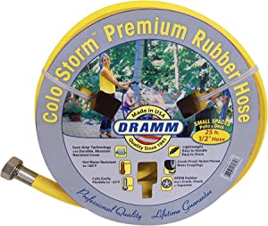 "Dramm 17033 ColorStorm Premium Rubber Garden Hose, 1/2"" x25', Yellow"