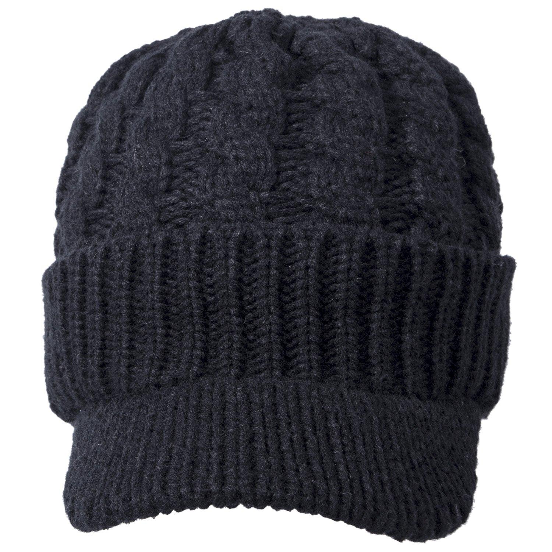 4fa2f0df4e1b Loritta Women Cable Knit Hat Winter Warm Newsboy Beanie Caps with Visor Brim  at Amazon Women's Clothing store: