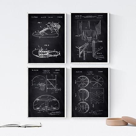 Nacnic Negro - Pack de 4 láminas con Patentes de Baloncesto 2. Set ...