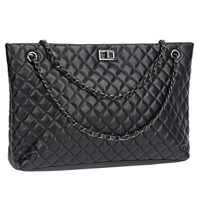 968499ff1ffb Quilted Handbags for Women Metal Chain Strap Purse Shoulder Bags (Large,  Black)