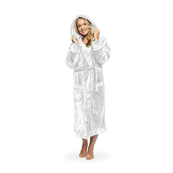 fe19a39b4d208 Lumaland peignoir de luxe en microfibre avec capuche pour femme et homme  différentes tailles et couleurs