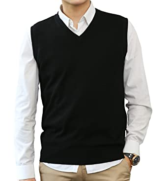 76fe8a3ac6aabd LONGMING Men  s Cashmere V-Neck Sleeveless Sweater Vest at Amazon Men s  Clothing store