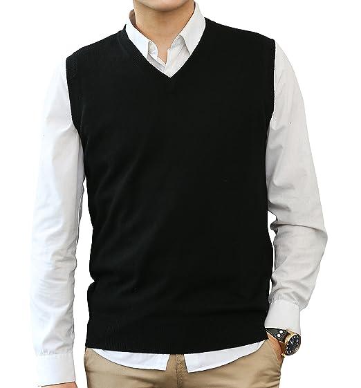 Longming Men S Cashmere V Neck Sleeveless Sweater Vest At Amazon
