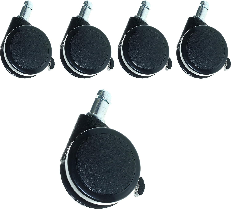 TUKA 5X Juego Universal de Ruedas para Suelos Duros, con Freno de Seguridad Externa. 5 Piezas, Ruedas para sillas de Oficina, Giratoria Piezas de Recambio. 11mm, Negro TKD3202 Black