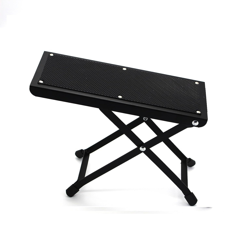Wishing Guitar Foot Rest Guitar Footstool 4-Level Adjustable Height Folding Metal Bracket Beech Guitar Pedal (Black) 005