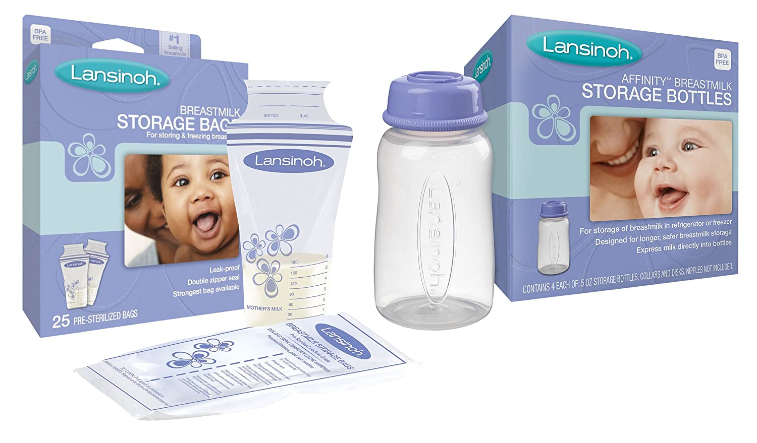 Lansinoh Breastmilk Storage Bags, 25 Count with 4 Storage ...