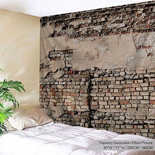 PROCIDA Brick Wall Tapestry Vintage Shabby Mottled Texture Large Wall Hanging Home Decor