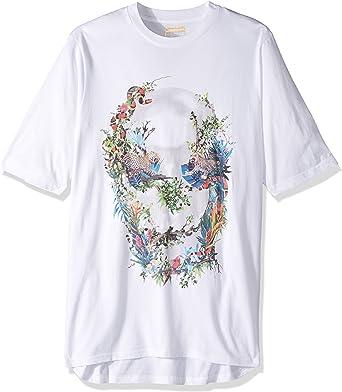 Sean John Mens Floral Skull Graphic T-Shirt