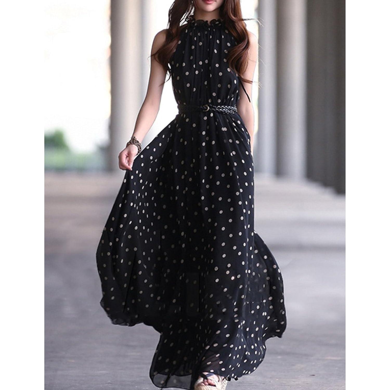 TOOGOO Veste en mousseline de soie pour femme Maxi Robe longue pleine sans  manches avec ceinture noir  Amazon.fr  Vêtements et accessoires 40485f24741