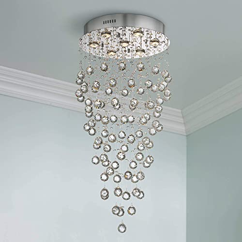 Aida Chrome Pendant Chandelier 17 3/4″ Wide Modern Pouring Bubble Crystal Glass Globes 7-Light Fixture