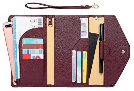 c8c6d2a77cbe Zoppen Passport Holder Travel Wallet (Ver.5) for Women Rfid Blocking  Multi-purpose Passport Cover Case Document Organizer Wrist Strap, Wine Red