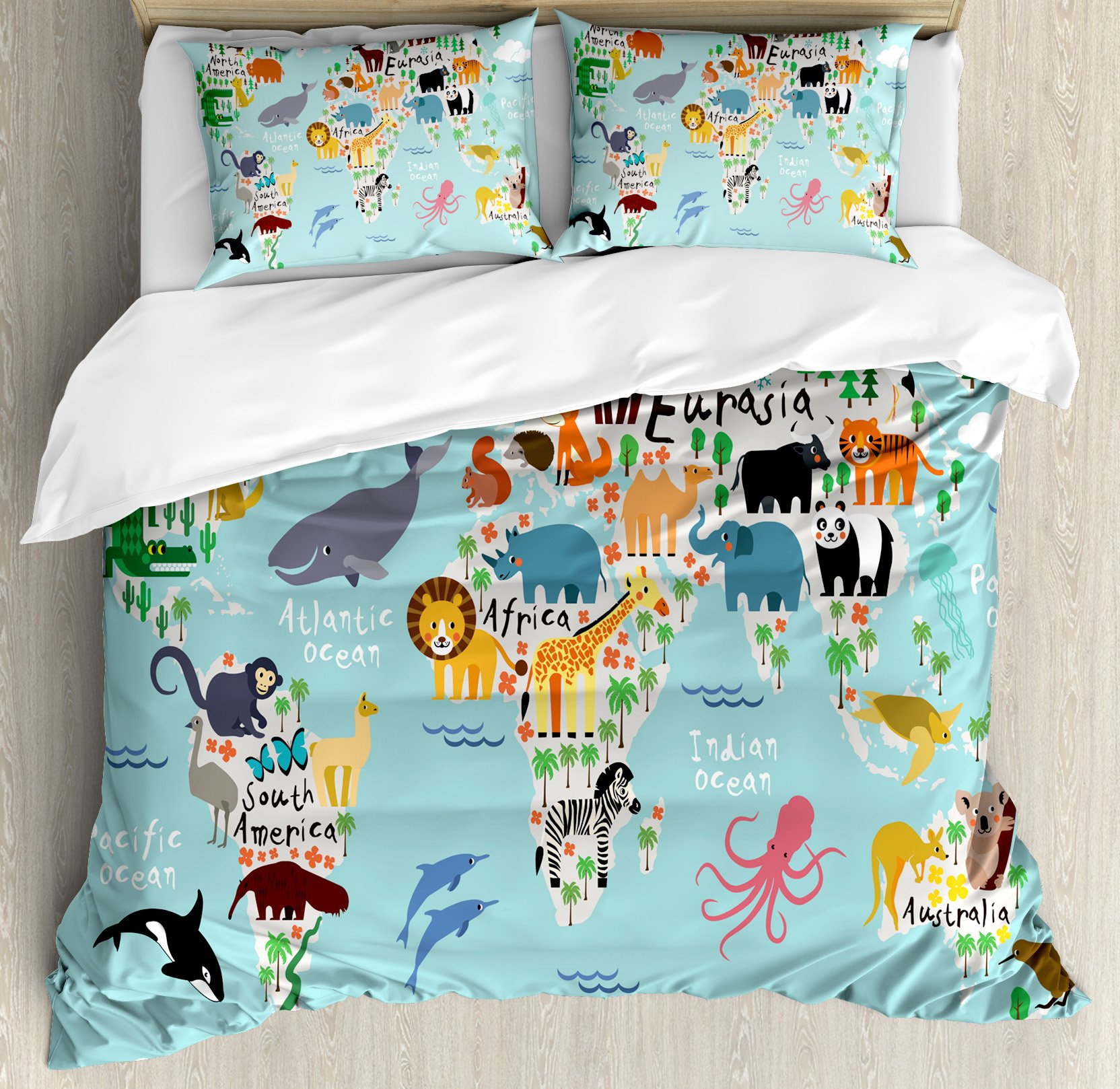 Kids King Size Duvet Cover Set by Ambesonne, Educational World Map Africa Camel America Lama Alligator Ocean Australia Koala Print, Decorative 3 Piece Bedding Set with 2 Pillow Shams by Ambesonne