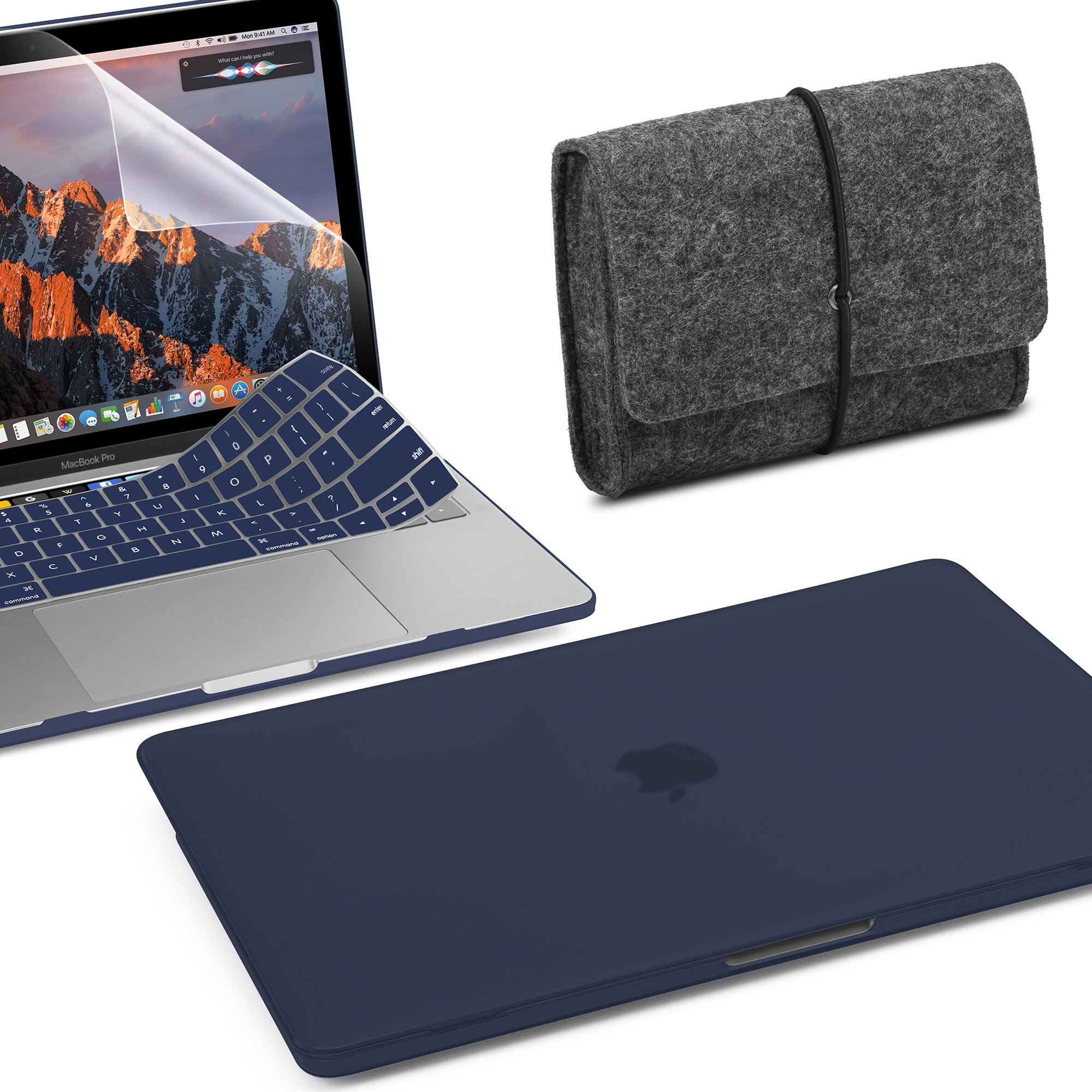 GMYLE MacBook Pro 13 inch Case 2018 2017 2016 Release A1989/A1706/A1708 With/Without Touch Bar, 4 in 1 Bundle Navy Blue Plastic Hard Case with Keyboard Cover, Felt Storage Pouch Bag & Screen Protector