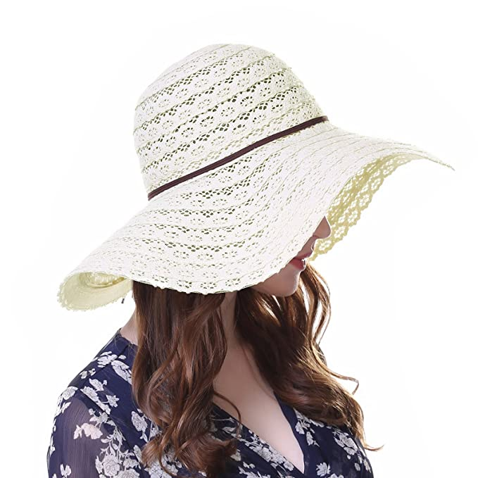 9c4994a5 Foldable Floppy Travel Packable Lace Hat Cotton Beach Church Hats for Women  Beige