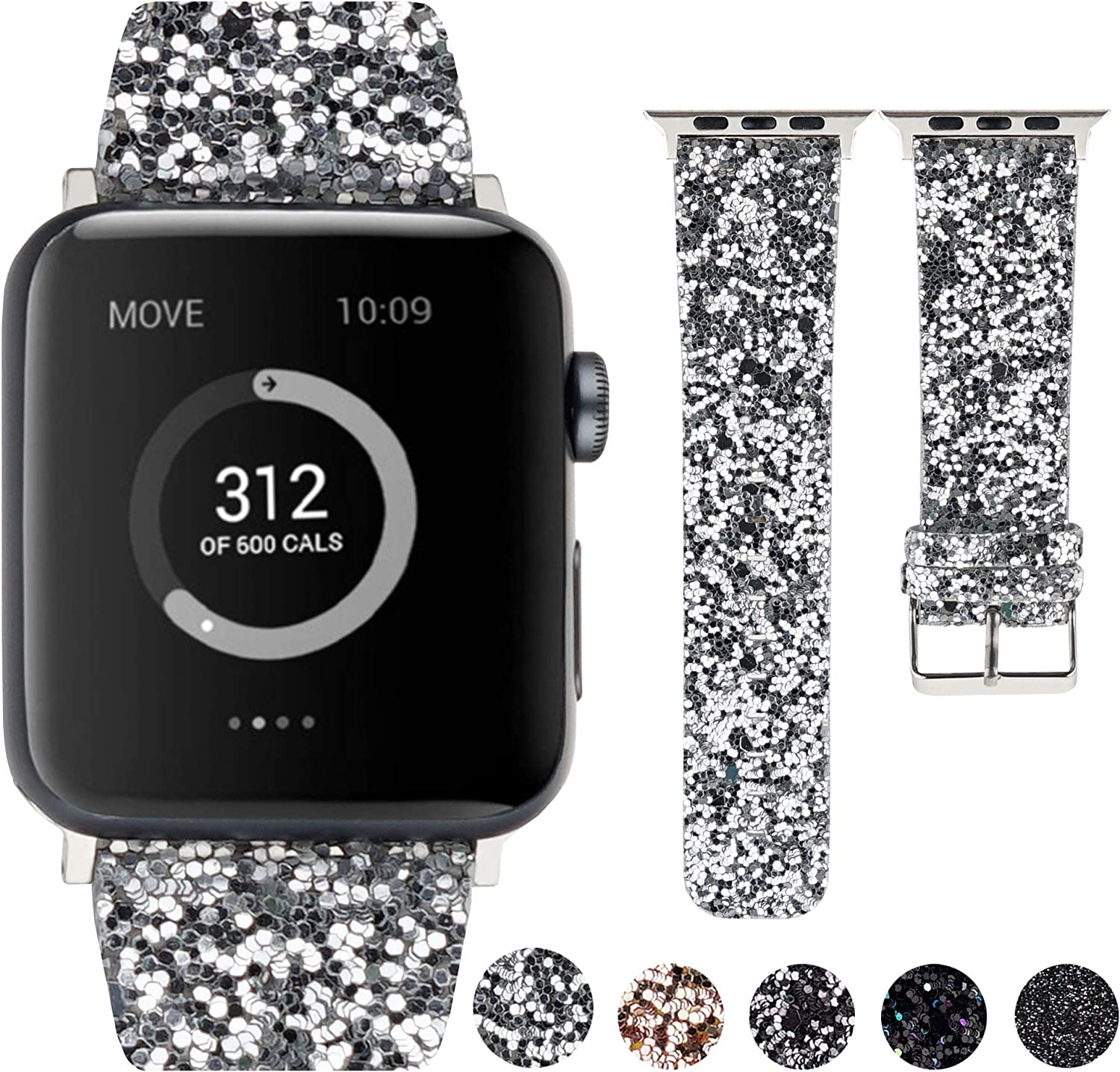Moonooda Glitter Watch Band Compatible with Apple Watch 38mm 40mm 42mm 44mm, Women Men Wristband Replacement for iWatch, Bling Strap Compatible with Series 5 4 3 2 1