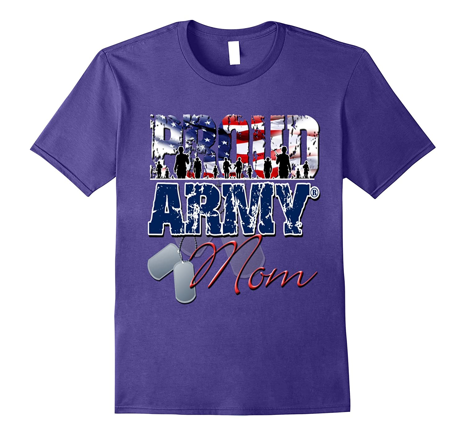 4th of july- proud army mom t shirt-PL