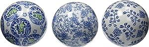 "Oriental Furniture 4"" Blue & White Decorative Porcelain Ball Set"