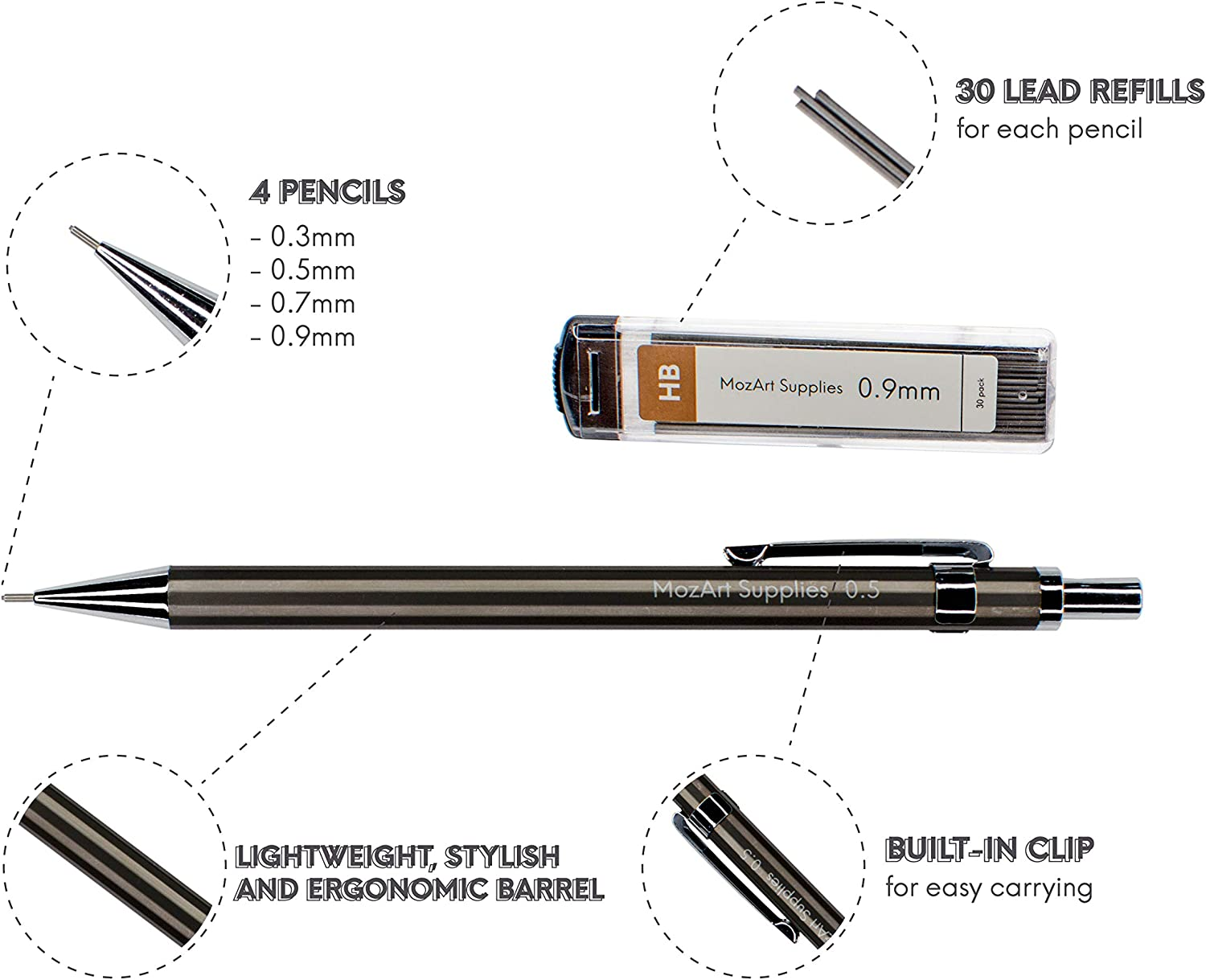 4 Sizes: 0.3 30 HB Lead refills each /& 4 Eraser Refills Sketching 0.5 MozArt Supplies Mechanical Pencil Set with Case Architecture Metal Illustrations 0.7 /& 0.9 mm Drafting