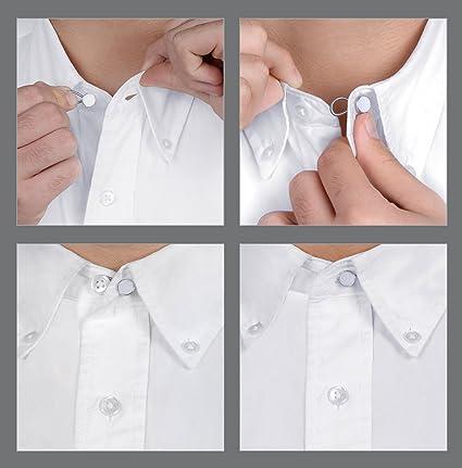 Comfy Clothiers cuello Extender 5-Pack – Banda elástica de color blanco botón extensores para vestido camisas