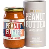 Fix & Fogg Smoke and Fire Peanut Butter (13.2 oz) All Natural, Handmade, Vegan, Organic Chilis, Golden Roasted With Glass Jar And Beautifully Designed Cardboard Canister.