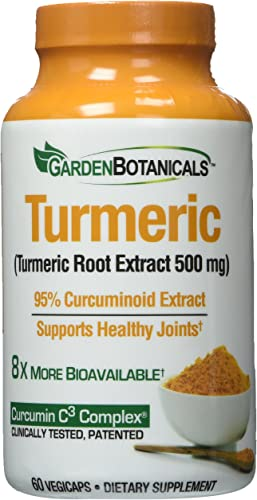 Garden Botanicals Turmeric 500mg, 60 vegicaps, 95 Curcuminoid Extract, Supports Healthy Joints, 60 Servings