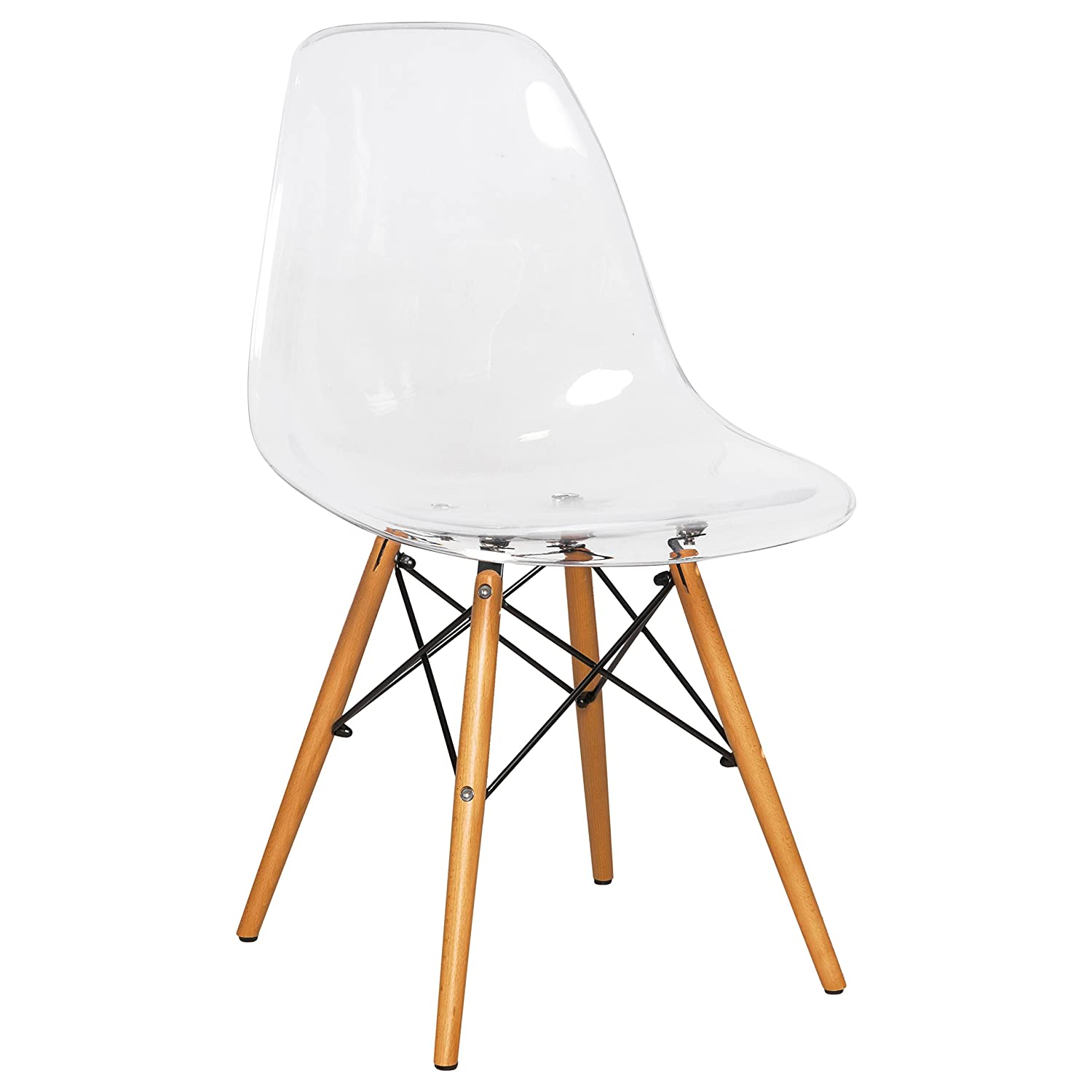 LeisureMod Calbert Plastic Molded Dining Side Chair with Wood Dowel Legs (Clear)