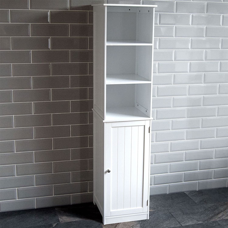 33.5 x 195.5 x 31.5 cm White FMD Tall Cupboard Tarragona