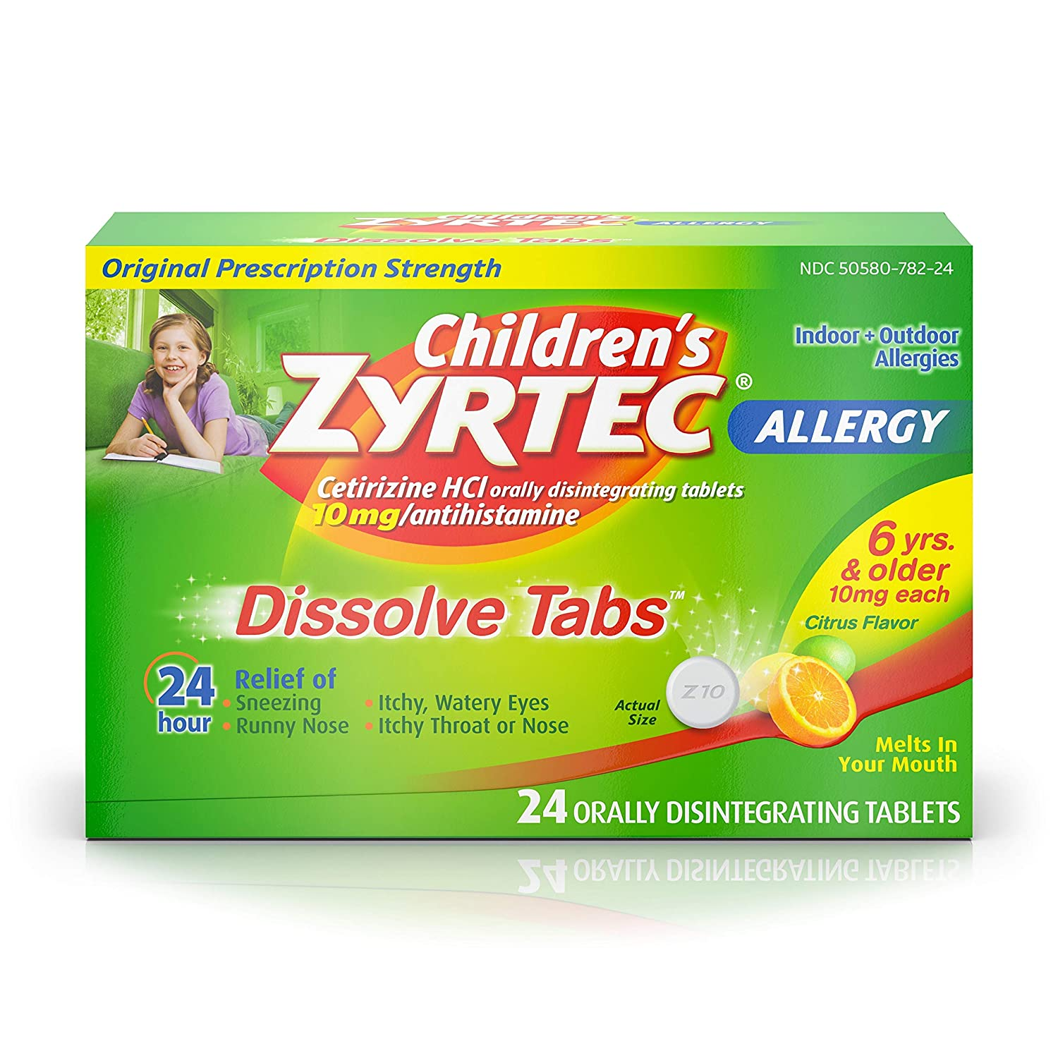 Children's Zyrtec 24 HR Dissolving Allergy Relief Tablets with Cetirizine, Citrus Flavored