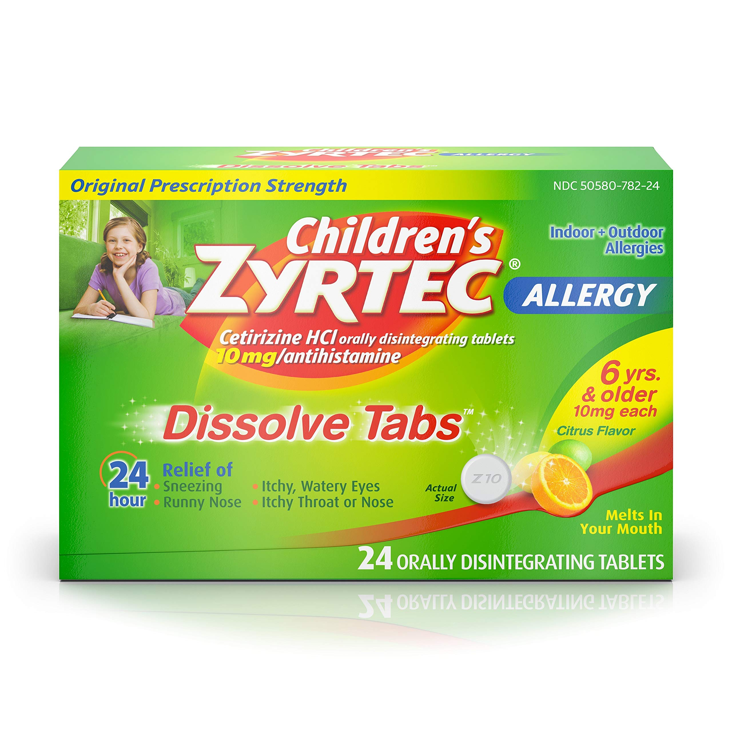 Children's Zyrtec 24 HR Dissolving Allergy Relief Tablets with Cetirizine, Citrus Flavored, 24 ct by Zyrtec