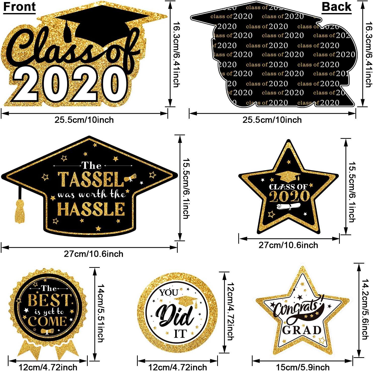Black Gold Glitter Congrats Nurse// Tassel Worth The Hassle 2020 Graduation Party Centerpiece Sticks Set Graduation Table Toppers Party Supplies Graduation Party Decoration 24 Pieces