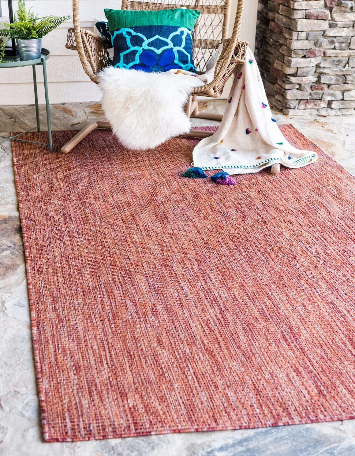 Unique Loom Outdoor Solid Collection Casual Transitional Indoor and Outdoor Flatweave Rust Red Area Rug 6 0 x 9 0