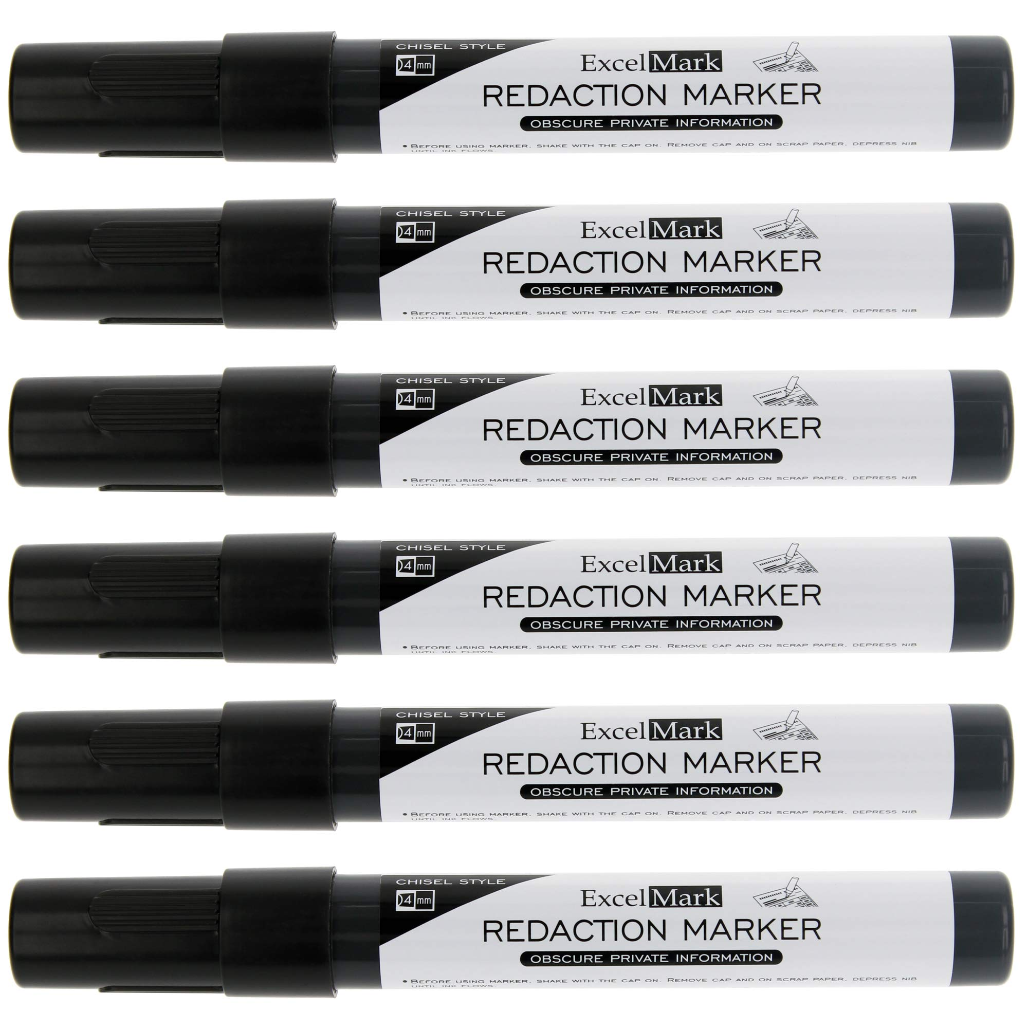 ExcelMark Security Redaction Marker - Blackout Private Information With Our Convenient Redacting Pen (6 Markers) by ExcelMark (Image #1)