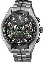 Citizen Watch Satellite Wave Air Men's Quartz Watch with Black Dial Analogue Display and Grey Titanium Bracelet